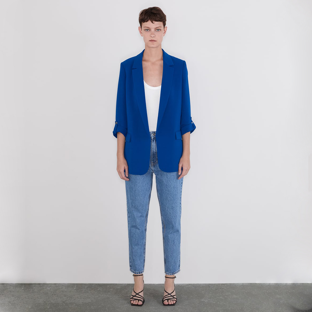 Ladyfirsy Za Suit Jacket 2019 New Seven-point Sleeve Korean Trendy Female Coat Rollable Sleeve Office Lady Charm  Slim Blazer