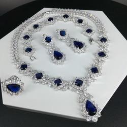 Новая мода ретро голубой капли воды циркон ожерелье серьги браслет кольцо Свадьба невесты ужин платье ювелирные изделия Бесплатная достав...