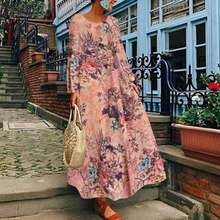Vintage Floral Printed Dress Women's Spring Sundress ZANZEA 2020 Casual Long Sle