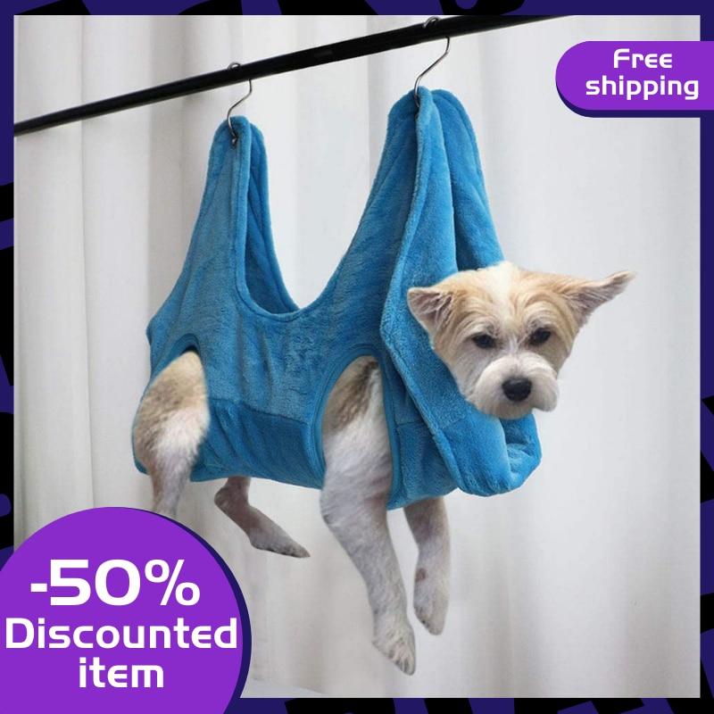 Pet Dog Hammock Helper 2 In 1 Towel Drying Bath Towel Pet Grooming Hammock Restraint Bag Bathing Bath Grooming Trimming Nails