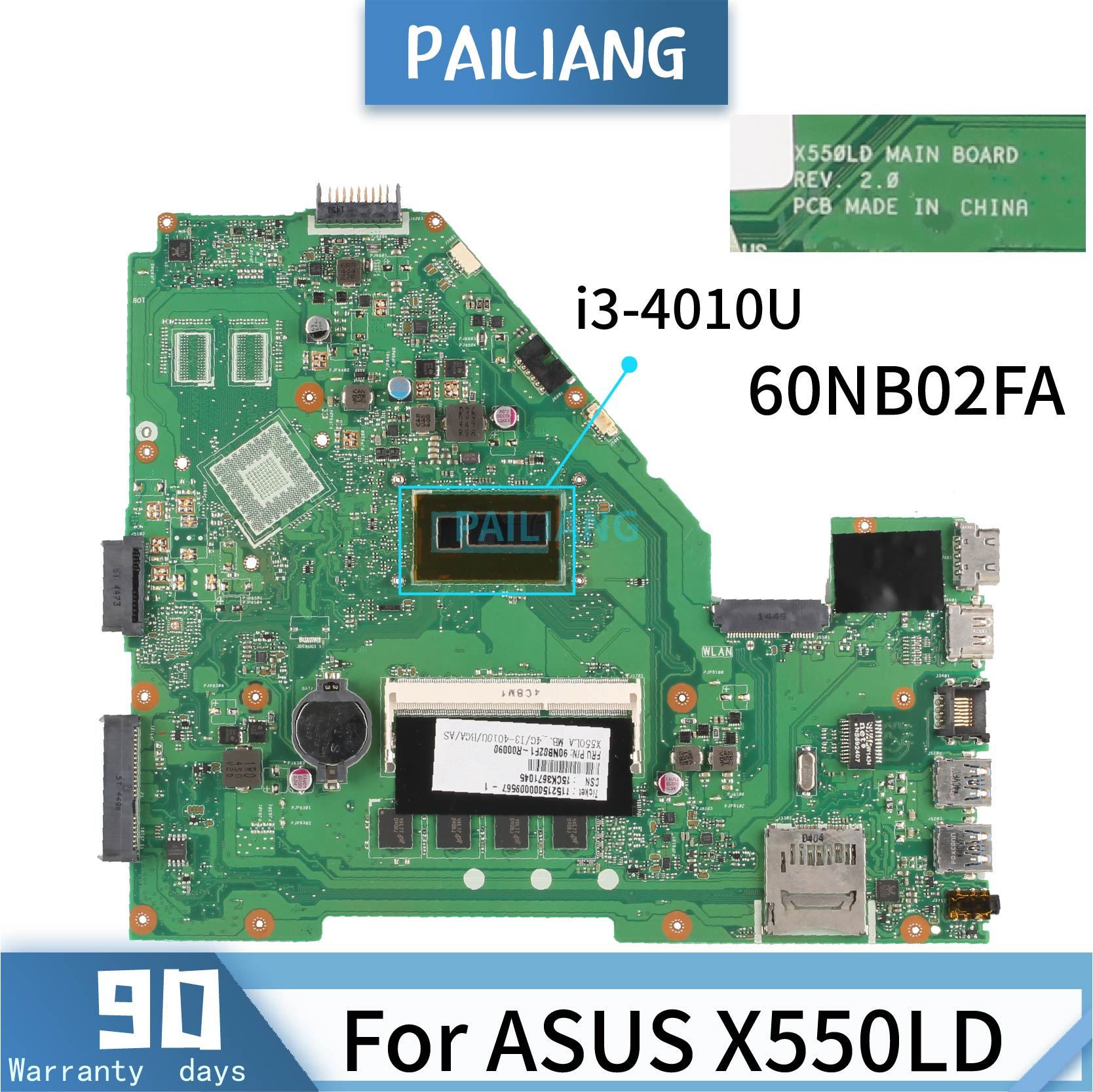PAILIANG Laptop motherboard For ASUS X550LD REV:2.0 60NB02FA Mainboard <font><b>Core</b></font> SR16Q <font><b>i3</b></font>-<font><b>4010U</b></font> DDR3 image