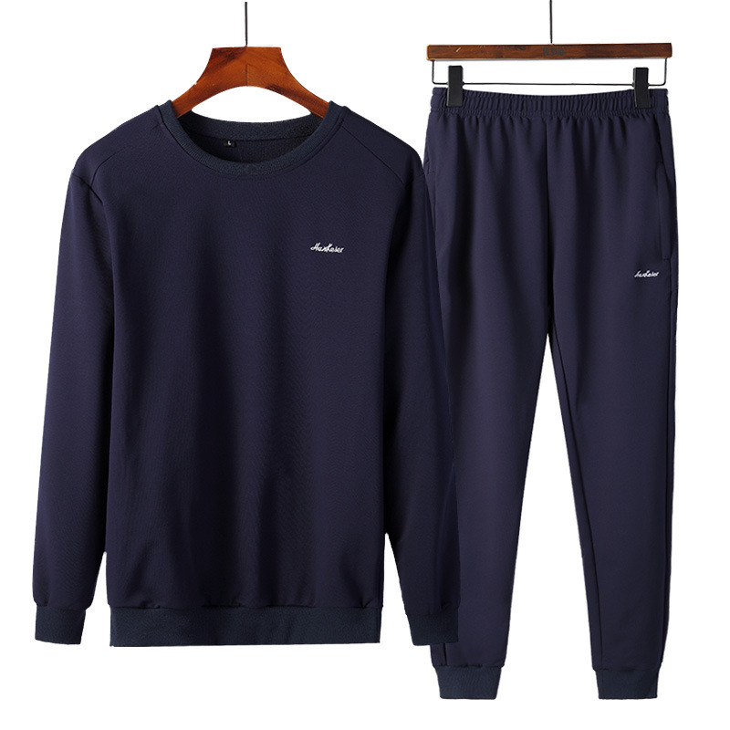 Men's Crew Neck Pullover Korean-style Trend Hoodie Casual Two-Piece Set Sports Solid Color Set Elastic Pants Tou Shu Feet