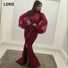 LORIE 2020 Burgundy Mermaid Evening Dresses for Women Lace Satin Split High Neck Long Sleeve Formal Prom Party Gowns Plus Size