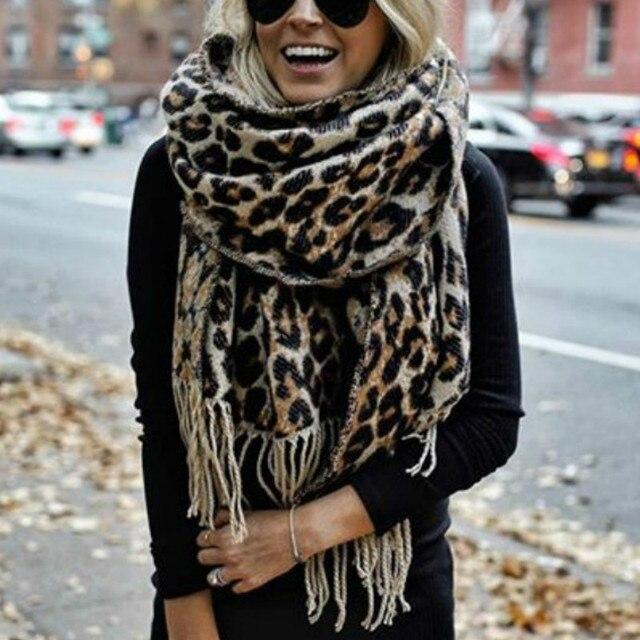 Brown Poncho Leopard Femme Winter Blanket Scarf Warm Soft Cashmere Thicken Long Ladies Tassel Scarves Women 2020 Poncho Foulard 1