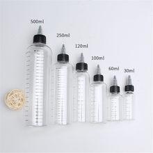 1 шт./5 шт. 30 мл/60 мл/100 мл/120 мл/250 мл пластиковые ПЭТ E соковыжималки прозрачные флаконы-капельницы с закрученной крышкой контейнеры для пигмен...