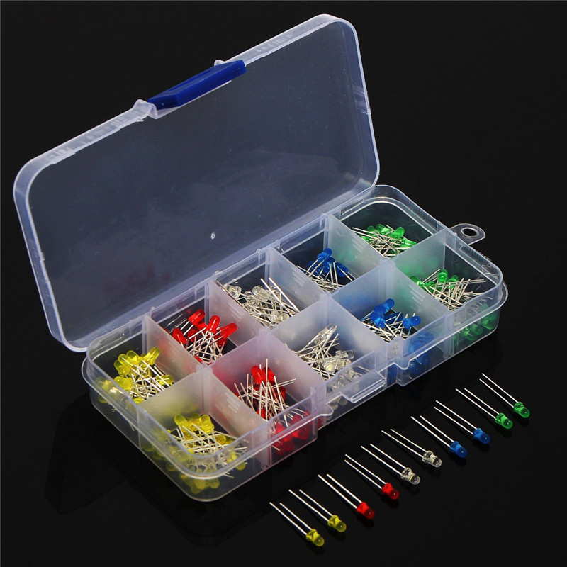 200pcs 3V 20mA Colorful Diodes Universal 3mm LED Light Assorted Kit Red Green Blue Yellow White DIY LEDs Diode Set