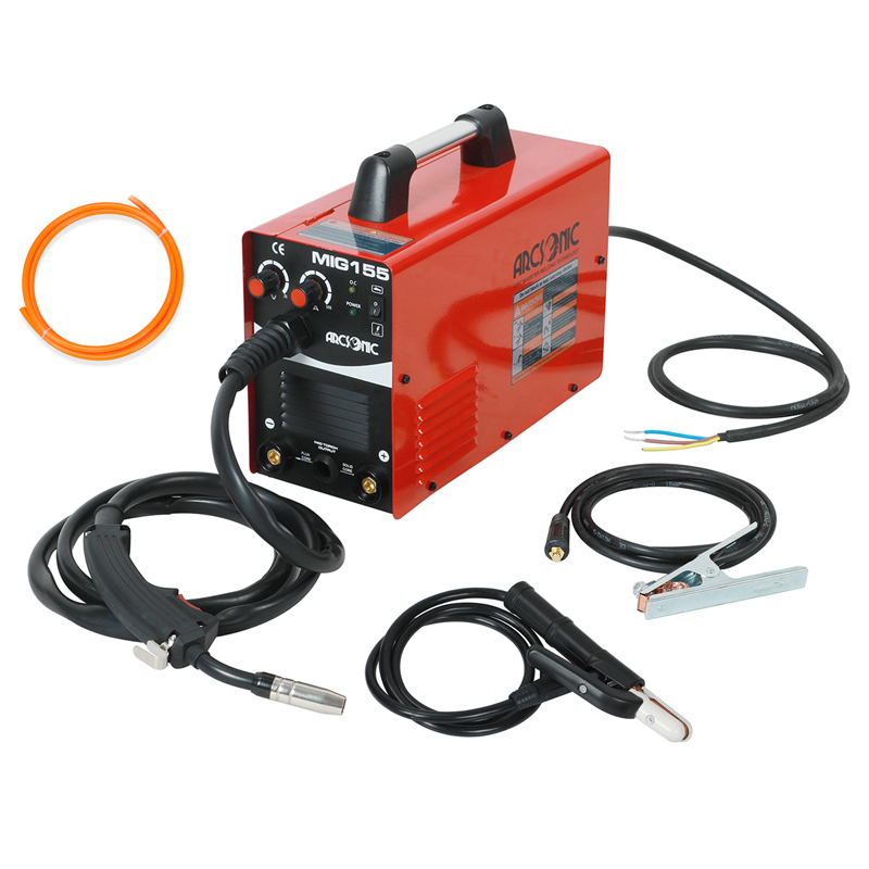 MIG155 IGBT Gas/No Gas Mig Welder 220V Flux Core Wire Steel Welding Machine Portable DC 2 In 1 Mig Welding MMA Welder