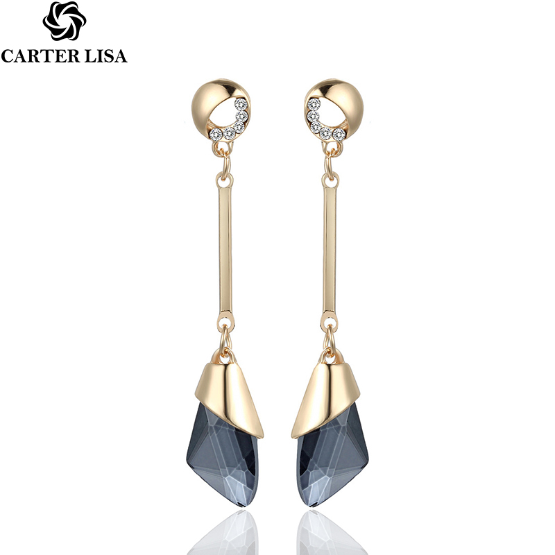 CARTER LISA Hot Sale Elegant Long Drop Earrings For Women Fashion Geometric Crystal Gold Color Water Dangle Earring Brincos
