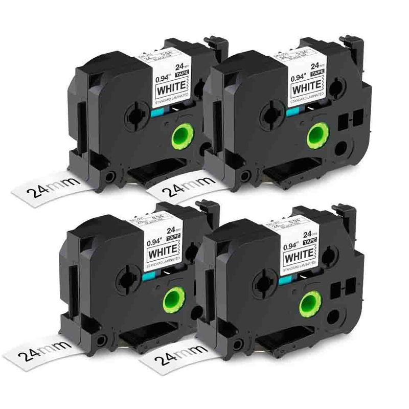 4Pcs 24mm Laminated Black On White Compatible For TZ TZe Tape Compatible With Brother P Press PTD600 PTP700 PTP900W PTP950NW Lab