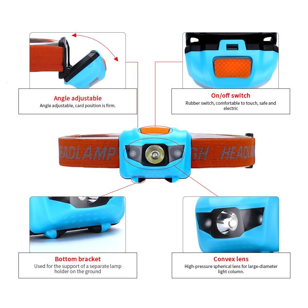 4 modus Scheinwerfer Leichte IPX4 Wasserdichte LED Kopf Licht Camping Mini Kopf Lampe AAA Batterie für Reisen