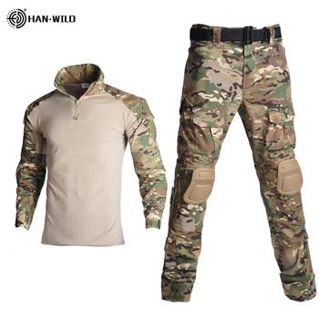 Na świeżym powietrzu Airsoft Paintball odzież strzelanie wojskowe jednolite taktyczne walki koszule moro Cargo spodnie łokcia ochraniacze na kolana garnitury tanie i dobre opinie HAN WILD CN (pochodzenie) Unisex Pasuje prawda na wymiar weź swój normalny rozmiar COTTON Tactical military uniform Long sleeve shirt + pants with elbow knee pads