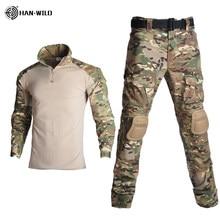Conjunto de uniforme de camuflaje, traje militar con camisa y pantalones de carga a juego, ideal para paintball airsoft combate táctico o tiro, ropa con coderas y rodilleras para exterior