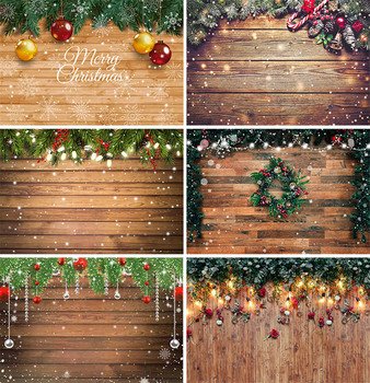 vintage wood board winter christmas tree branch photography backdrop vinyl photographic background for photo studio photophone Christmas Backdrop Wood Board Light Winter Snow Gift Stars Bell Vinyl Photography Background Photo Studio Photophone