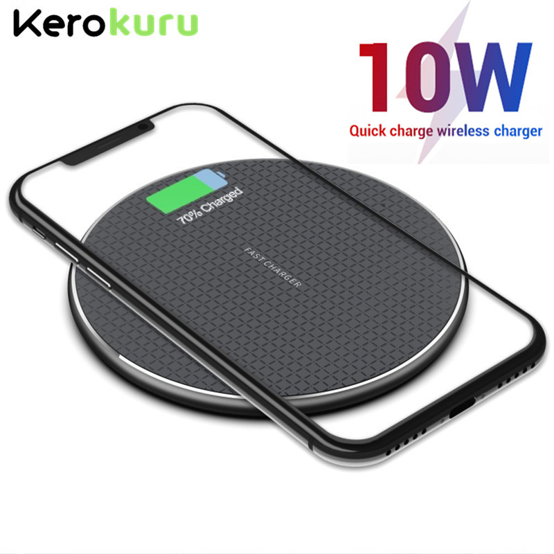 10W Qi Wireless Charger For iphone 11 Pro Xs Max X 8 Plus Fast Charging Pad for Samsung S10+ S9 S8 Huawei P30 Pro Mate 30 20|Wireless Chargers| |  - title=
