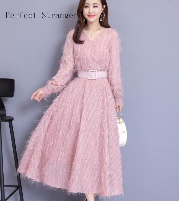 2020 Spring New Arrival High Quality Plus Size M-3XL Elegant V Collar Tassel Long Sleeve Woman Long Chiffon Dress With Belt image