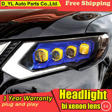Car Styling for Nissan X-Trail Headlights 2017-2019 Nissan X-Trail LED Headlight LED DRL LED Matrix Lens turn light(China)