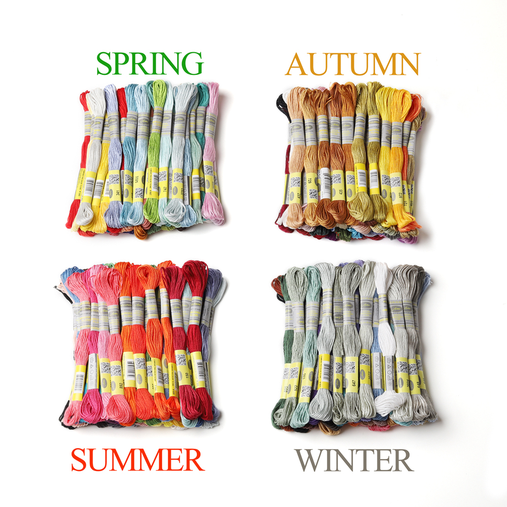 Seasons Collection Cotton Embroidery Floss 40 Different Colors Per Pack 8.7Yards Cross Stitch 6 Strands Ture Egyptian Cotton