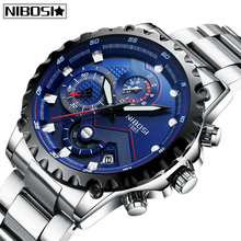 купить NIBOSI Brand Men Fashion Watches Sport Waterproof Men Quartz Watch Man Full Steel Military Clock Wrist Watches Relogio Masculino по цене 1360.59 рублей