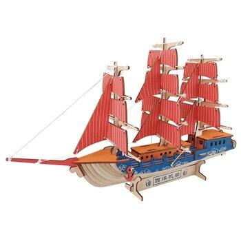 Barco de vela DIY 3D rompecabezas de madera Kit de ensamblaje de madera para cortar juguetes de madera para regalo de Navidad 3124
