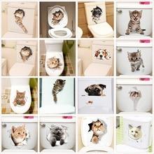 Cute Cat Dog Toilet Stickers Home Decoration DIY Funny Cartoon Animal Wc Mural Art Vivid 3D effect Puppy Safari Pvc Wall Decal