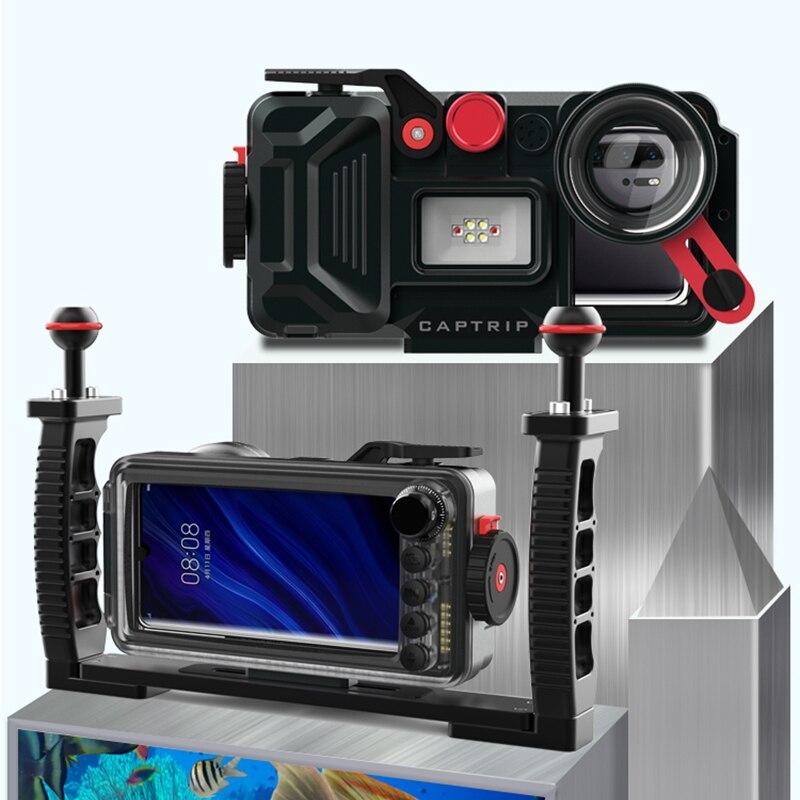 In lega di alluminio Caso di Immersione Per Huawei Compagno di 20 30 7 8 9 10 Pro Lite 20 Lite Pro 20X Copertura impermeabile fotografia subacquea - 4