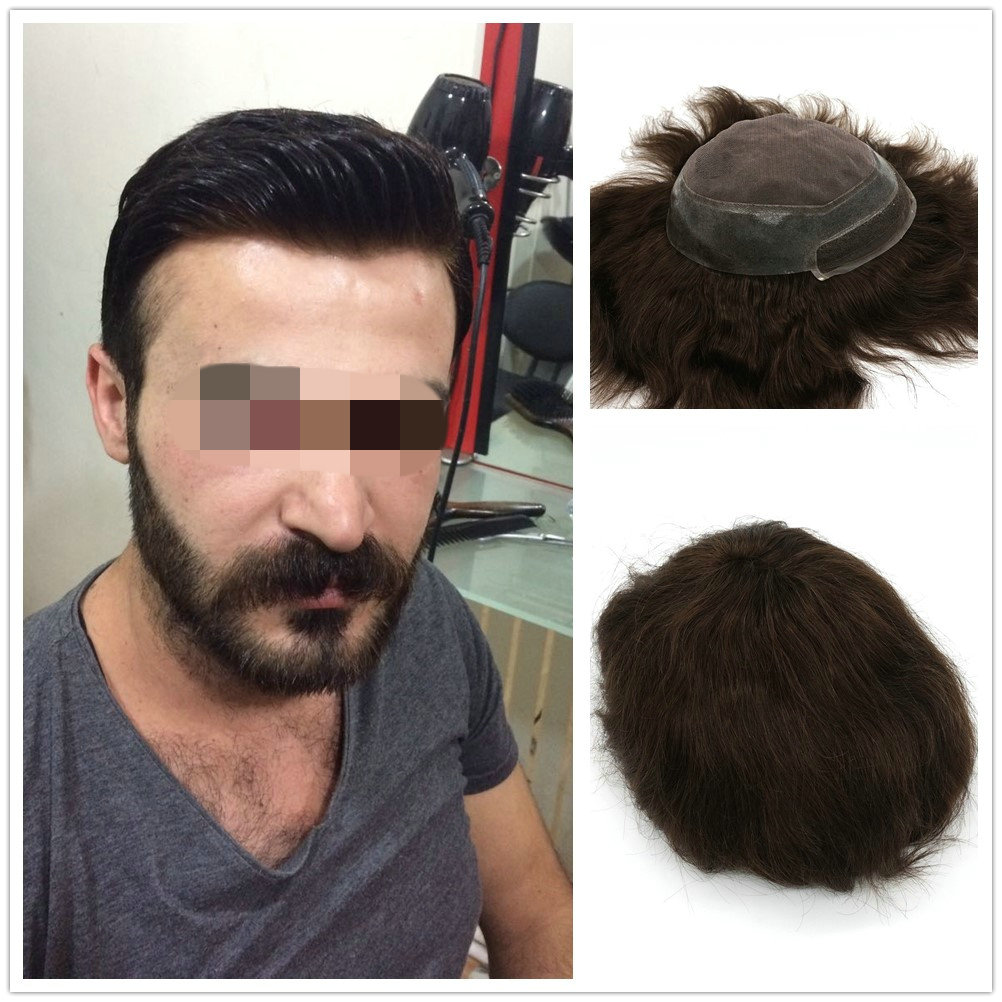 Hstonir Indian Remy Hair Toupee Swiss Lace Mono Wig Human Hair Replacement System For Men H046