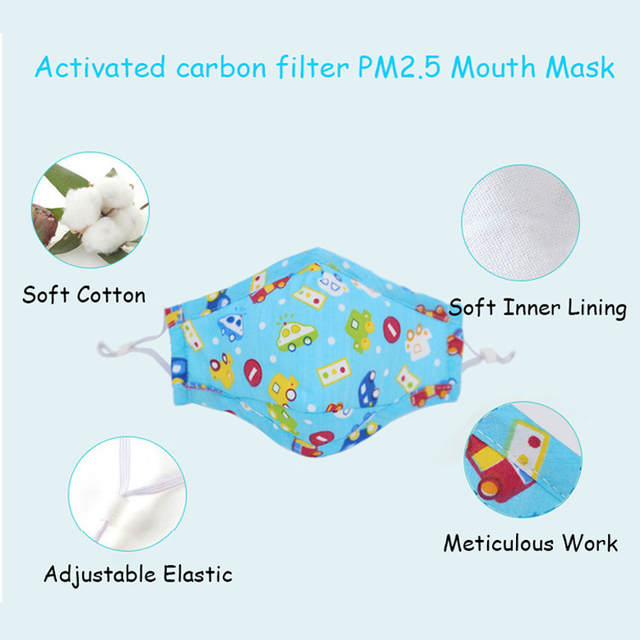 PM2.5 Kids Adult Face Mask Cute Mouth Mask Activated Carbon Filter Children Washable Reusable Cloth Fabric Cotton Masks Pink 3