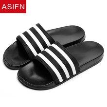 Men Shoes Flip-Flops Couple Slides Men's Slippers Black Male Stripes White Casual Summer