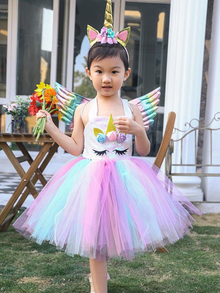 Little Child Pony Dress Unicorn Birthday Tutu Dress for Girls Unicorn Dress Sequin Top