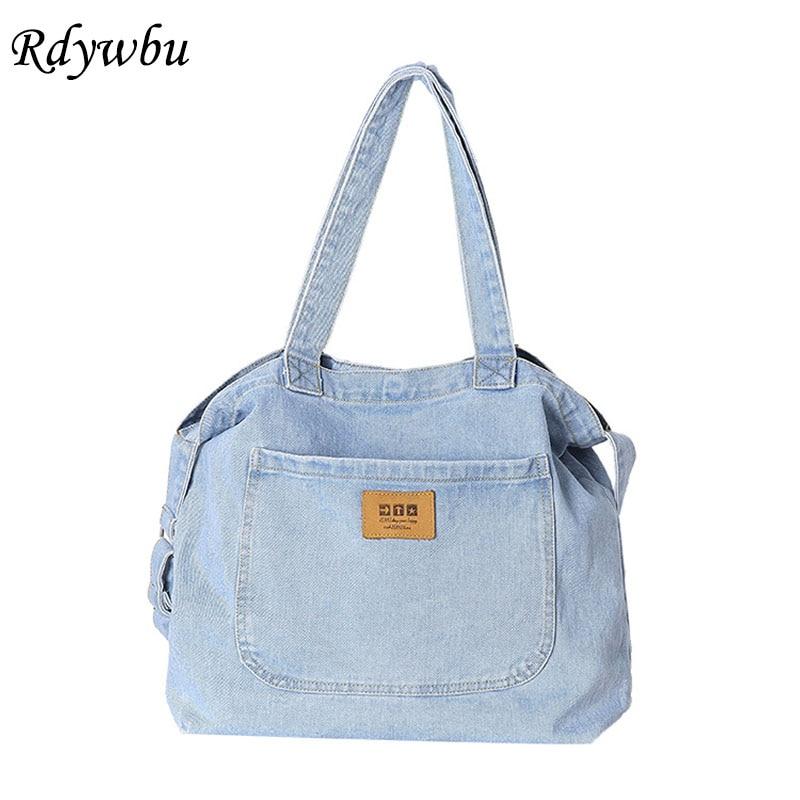 Denim Crossbody Bags For Women Canvas Jeans Blue Shoulder Bag Top-Handle Tote Handbags Large Messenger Travel Bolsas Mujer B812