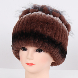 Image 2 - New Arrival Winter Lady Good Elastic Real Rex Rabbit Fur Beanies Hats Women Thick Warm 100% Natural Fur Hat Knitted Real Fur Cap