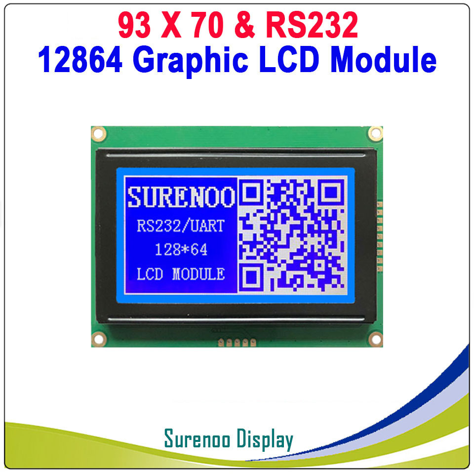 93X70MM Graphic Matrix CMOS TTL RS232 12864 128*64 LCD Module Display Screen Build-in GB2312 ASCII Font ABS Frame