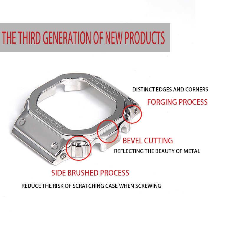 316L paslanmaz çelik kordonlu saat çerçeve/kılıf DW5600 GW5000 GW-M5610 metal kayış çelik kemer araçları erkekler için/kadınlar hediye