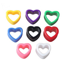 1Pair Blue  Heart Ear Tunnel Gauge Acrylic Spiral Plugs Taper Stretchers Expander Saddle 20-25mm