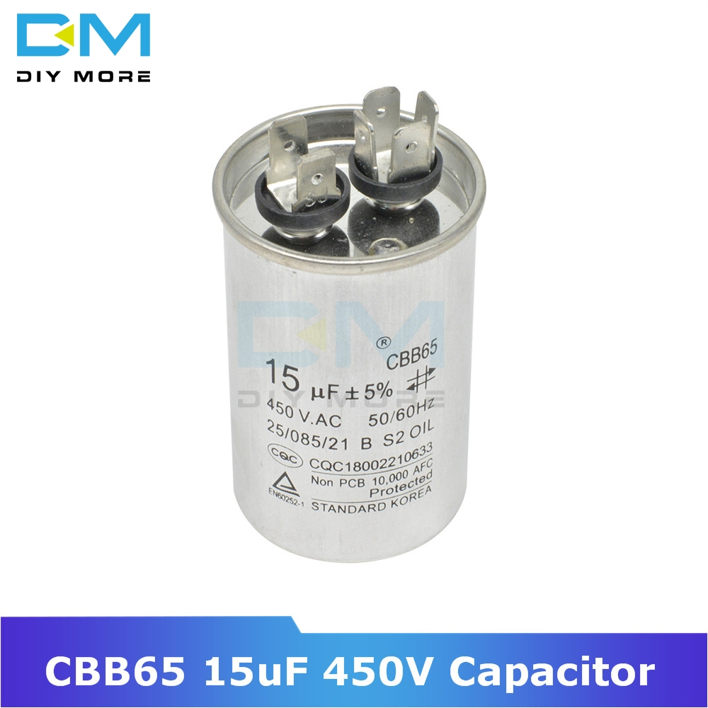 CBB65 15uF 450V AC Motor Capacitor Compressor Air Conditioner Start Capacitor For Washing Machine High-power Lighting Fixtures