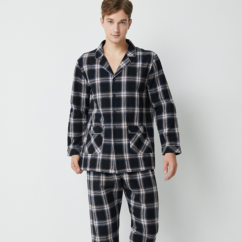 100% Cotton Hight Quality Thick  Pajamas Men  Sleepwear Loungewear Men L-2xl 1690