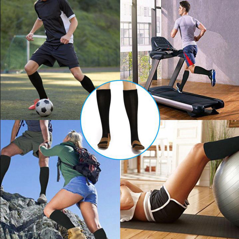 Men Crew Copper Fiber Long Socks Compression Pressure Stockings Outdoor Sports High custom Socks 15-20mmHg
