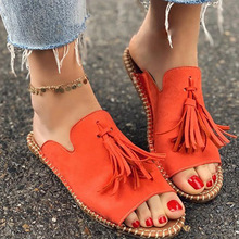 summer Women sandals tassel Flip Flops Lady Mules flat Sandals big size Open toe Beach Shoes retro Rome Sandals Sandalias cap toe flat mules