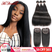 HAIR Closure Brazilian-Hair Ali Annabelle Straight with 100%Remy Human-Hair-Bundles