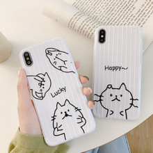 Funny black cat Graffiti cute cartoon phone case For coque iPhone 7 8 6s 6 Plus kawaii silicon for cover X XS Max XR