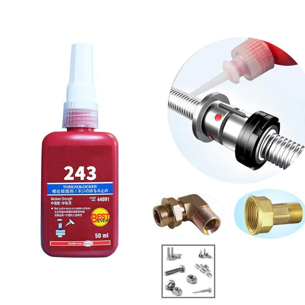 1 Pcs 243 Medium Strength Threadlocker Anaerobic Adhesive Glue GQ999 50ml Blue Liquid Medium Strength For M8 To M20 Thread