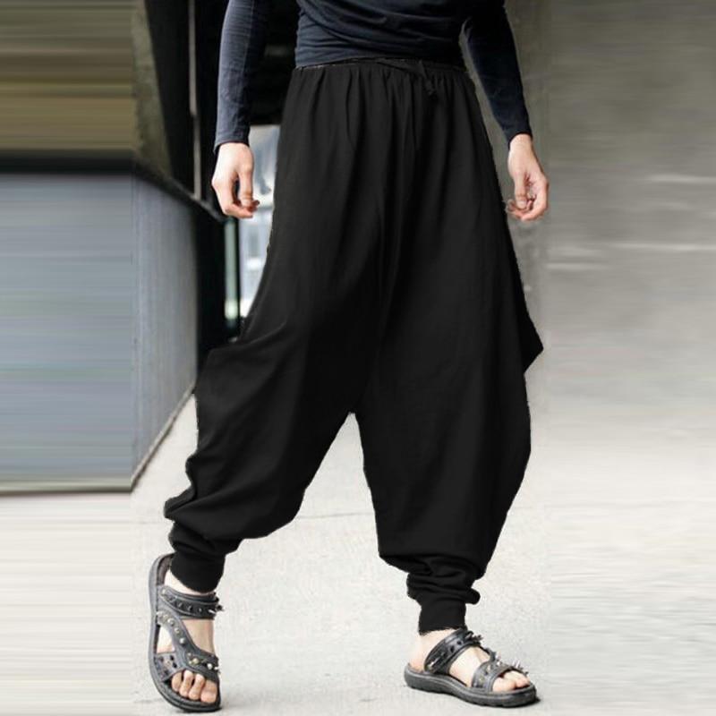 INCERUN Men Harem Pants Cotton Punk Style Drop Crotch Pants Joggers Streetwear Loose Fashion Casual Trousers Pantalones Hombre