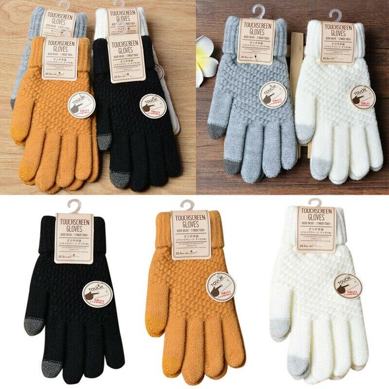 Winter Men Knitted Gloves Touch Screen High Quality Male Mitten Thicken Warm Imitation Cashmere Solid Men Gloves Autumn