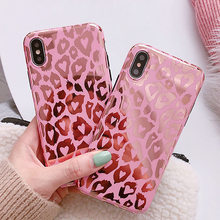Shining Glossy Leopard spot telefoon Case Voor iphone11PRO MAX X XR XS Max 6 7 8 Plus Rose goud zachte TPU Case silicone Back cove(China)