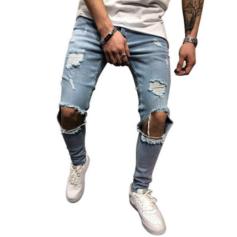 Мужские рваные джинсы для мужчин, повседневные Черные синие обтягивающие облегающие джинсовые штаны, байкерские джинсы в стиле хип-хоп с сексуальными дырками, джинсовые штаны - Цвет: blue5