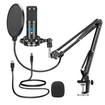 USB Microphone Gaming PC Condenser Microphone for Computer Karaoke Recording Studio for YouTube Streaming mic Stand Pop Filter cardioid directional condenser microphone for youtube broadcast gaming usb microphone for computer recording mic with stand