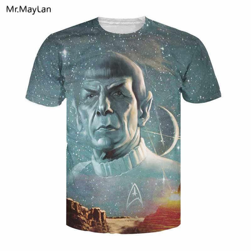 2018 夏トップスライブロング繁栄プリント 3D Tシャツスタートレック Spock 銀河 Tシャツセクシーなヒップホップ tシャツのため女性の男性のプラスサイズ 5XL