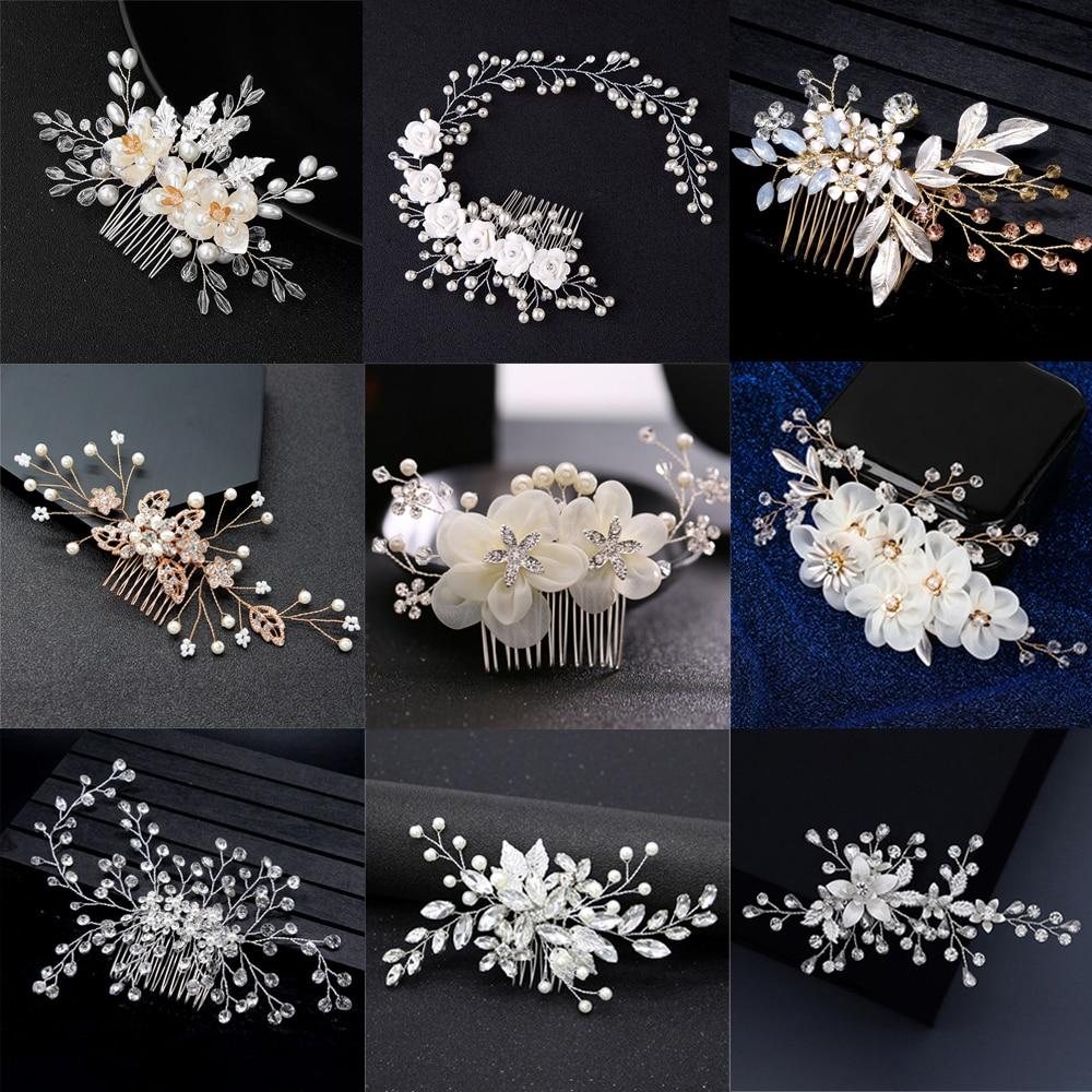 Элегантные украшения для волос смешанного стиля с кристаллами и жемчугом, свадебные аксессуары для волос, расческа для волос, свадебные зак...