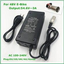 Ładowarka 54.6V3A 54.6V 3A ładowarka akumulatorów litowych do akumulatora litowo jonowego 48V ładowarka XLR 54.6V3A