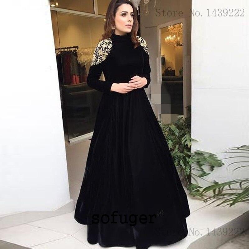 Black Muslim Arab Velvet Mother Of The Bride Dresses High Neck Appliques Long Evening Dress Vestido De Renda Groom Mother Gown